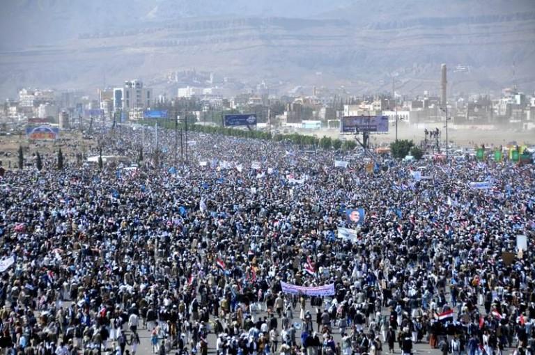 Photo of بالتزامن مع زيارة ترامب للسعودية..الحوثيون يحشدون جماهيرهم في صنعاء