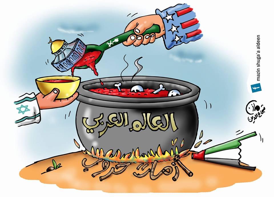 Photo of كاريكاتير يوضح الواقع الذي يعيشه العالم العربي في ظل الهمينة الإمريكية والإسرائيلية