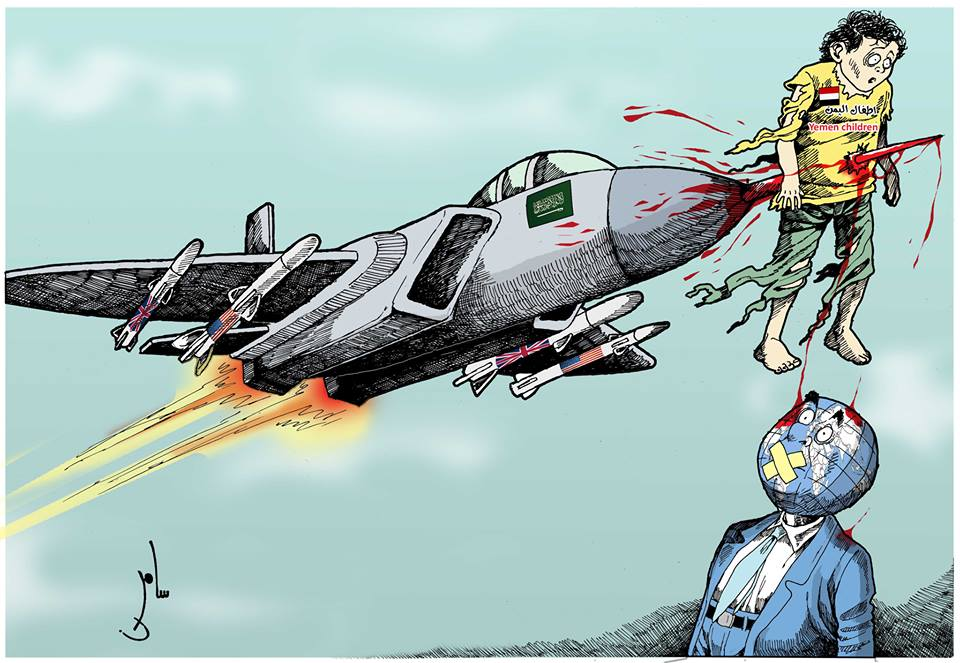 "Photo of كاريكاتير:السعودية تقتل أطفال اليمن والعالم ""صامت"""