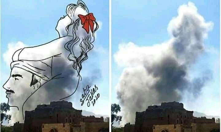 رسامة يمنية تصنع من أعمدة دخان الغارات لوحات إبداعية